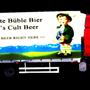 Glowing Büble Bier Trucks Distributing Free Beer Bottles Near Pubs And Clubs- Guerilla style!