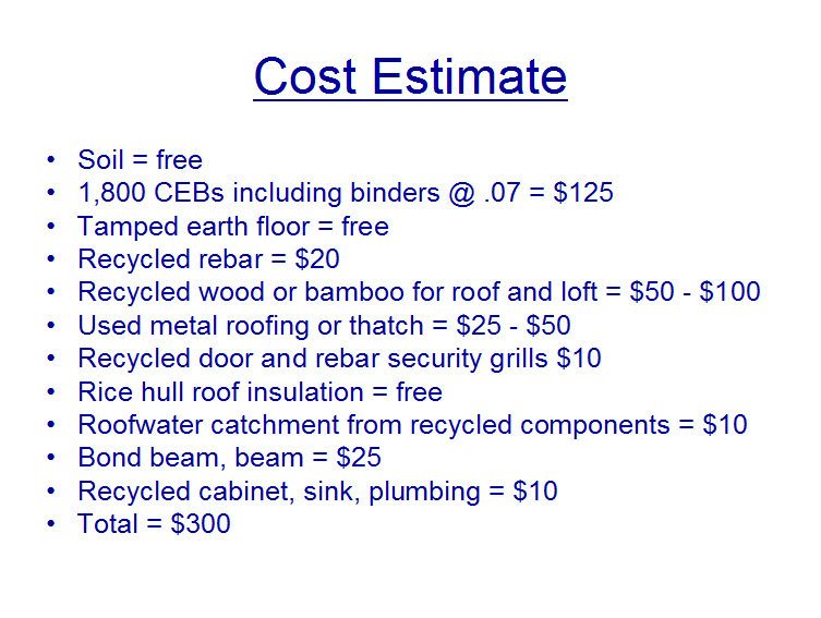 300 ceb house cost estimate bigger