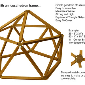 Icosahedron House - A simple geometric structure using commonly available materials.