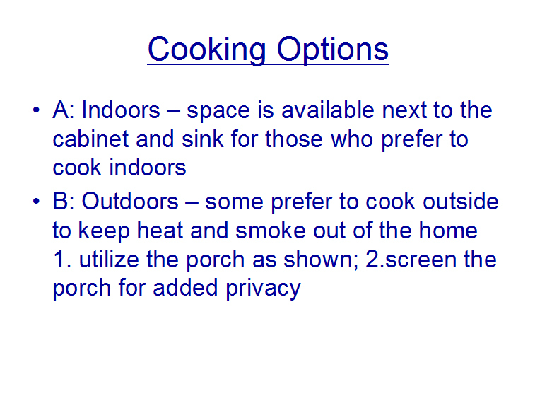 Cooking options bigger