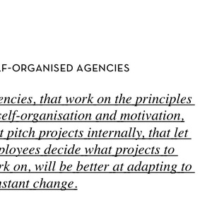 Self-organised Agencies