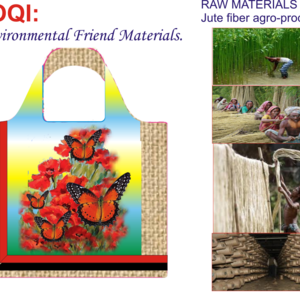 Natural Jute fiber Bag- Image with Picture Butterfly and flowers.