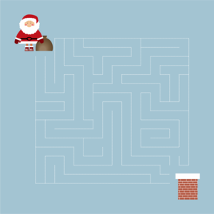 "Interactive labyrinth card ""Help Santa find the path"""