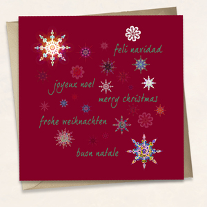 Greetings in different languages with many snowflakes - deep red