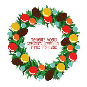A colorful Christmas wreath